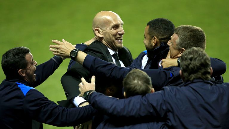 Reading manager Jaap Stam celebrates after making Wembley