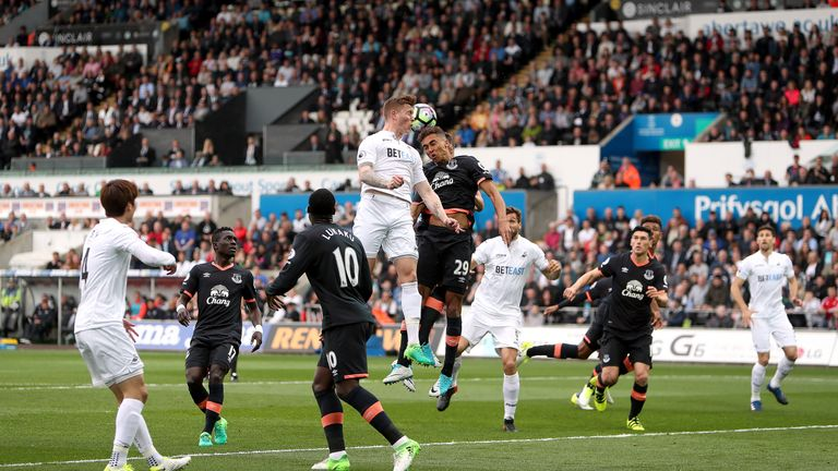 Alfie Mawson and Dominic Calvert-Lewin contest a header at the Liberty Stadium