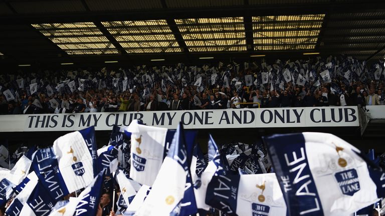 Tottenham Hotspur fans wave flags prior to the final match at White Hart Lane