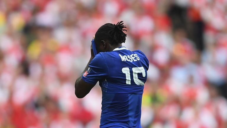 Moses was dismissed when Chelsea were trailing 1-0 to Arsenal