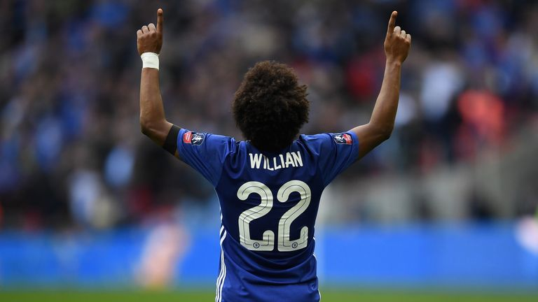 Chelsea's Willian celebrates after his FA Cup final goal