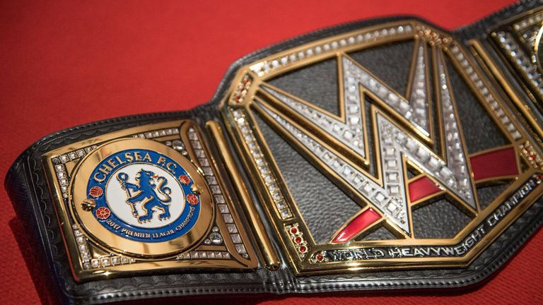 The personalised WWE belt has Chelsea club crests on the side panels