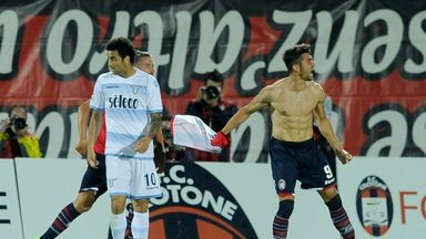 Andrea Nalini celebrates scoring for Crotone as they escaped the drop