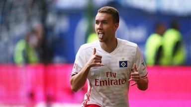 Luca Waldschmidt celebrates his last-gasp winner against Wolfsburg