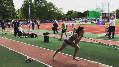 Olivia Breen rips up the long jump board at Loughborough