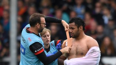 Billy Vunipola receives treatment against Exeter