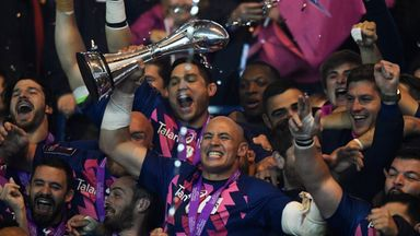 Stade captain Sergio Parisse lifts the trophy following his team's victory in the European Rugby Challenge Cup final