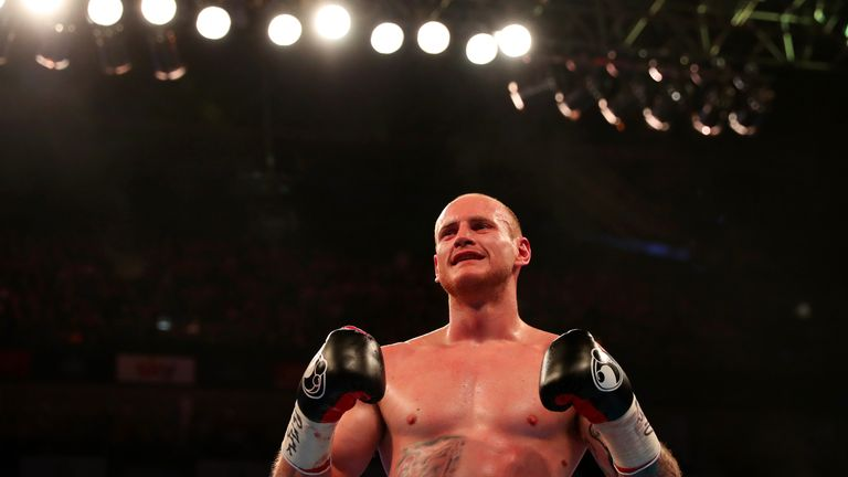 LONDON, ENGLAND - APRIL 09:  George Groves of England celebrates after defeating David Brophy of Scotland during the WBA International Super-Middleweight t