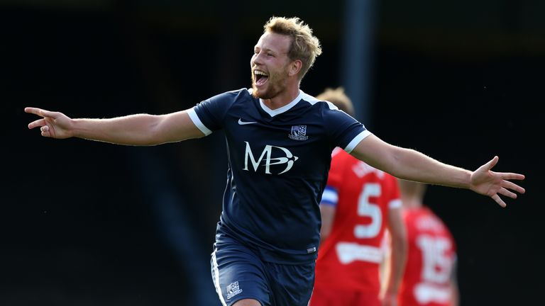 Southend United's Adam Thompson celebrates scoring his side's first goal of the game during the Sky Bet League One match at Roots Hall, Southend-on-Sea