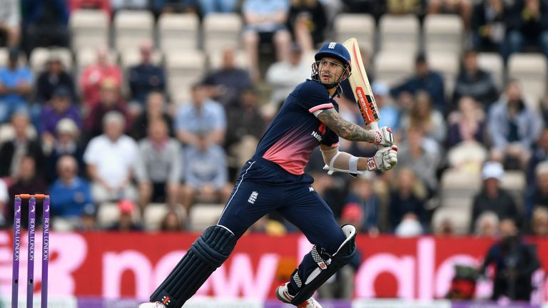 England batsman Aalex Hales hits out during the 2nd Royal London One Day International between England and South Africa