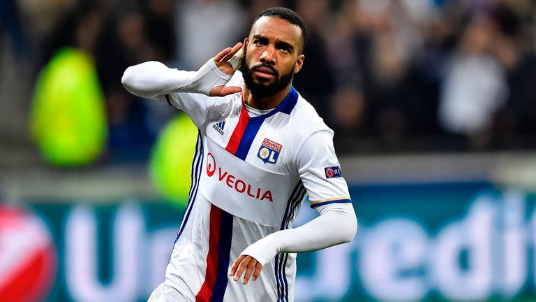 Alexandre Lacazette in action during the Europa League round of 16 against Roma on March 9