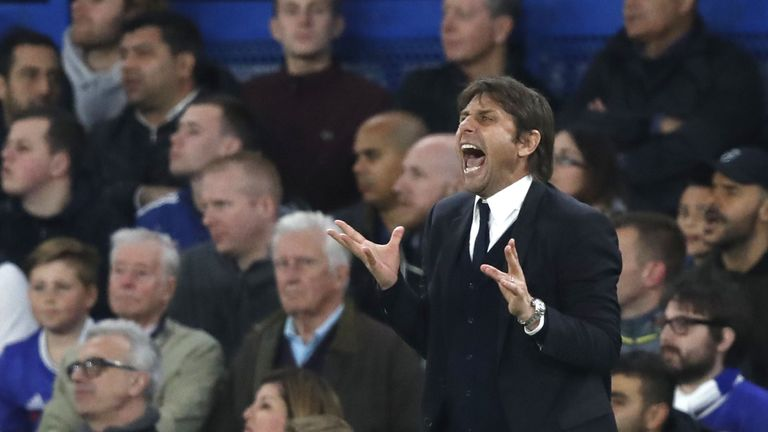 Chelsea's Italian head coach Antonio Conte gestures during the English Premier League football match between Chelsea and Middlesbrough at Stamford Bridge i