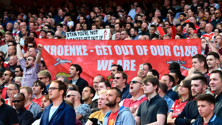 Arsenal fans hold up a banner against Arsenal's majority owner Stan Kroenke during the English Premier League football match v Everton