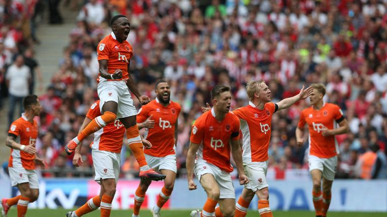 LONDON, ENGLAND - MAY 28:  Mark Cullen of Blackpool (second right) celebrates as he scores their second goal with team mates during the Sky Bet League Two