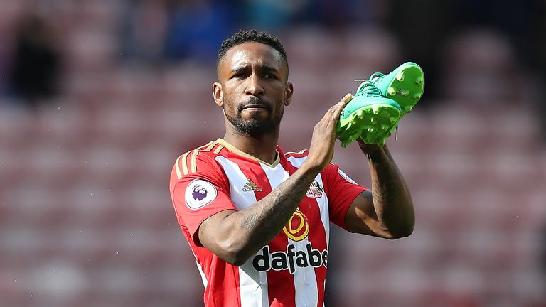 Jermain Defoe appeared to bid farewell to the Sunderland supporters after their final home game on Saturday