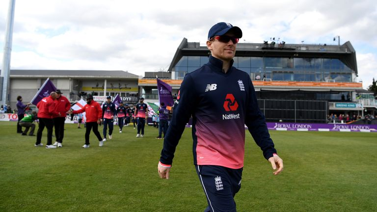 BRISTOL, ENGLAND - MAY 05:  England captain Eoin Morgan leads out his team ahead of the Royal London One Day International between England and Ireland at T