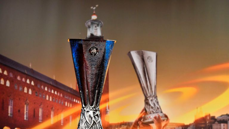 The Europa league cup is pictured prior to the ceremony for the quarter-final draw of the quarter-final draw for the UEFA Europa League football tournament