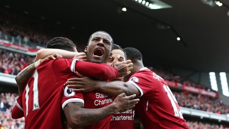 LIVERPOOL, ENGLAND - MAY 21:  Georginio Wijnaldum of Liverpool celebrates scoring his sides first goal during the Premier League match between Liverpool an