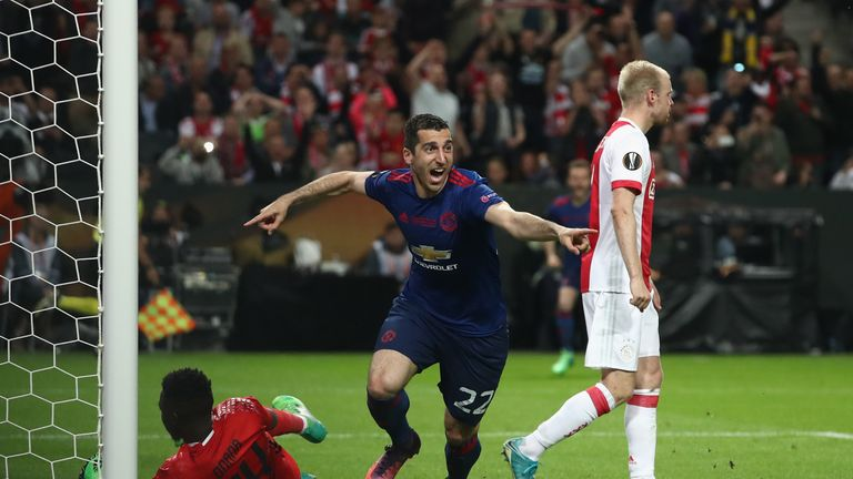 Henrikh Mkhitaryan of Manchester United celebrates scoring his sides second goal during the UEFA Europa League Final against Ajax