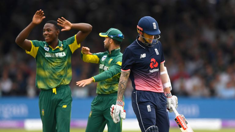 Kagiso Rabada (left) is congratulated after dismissing Alex Hales