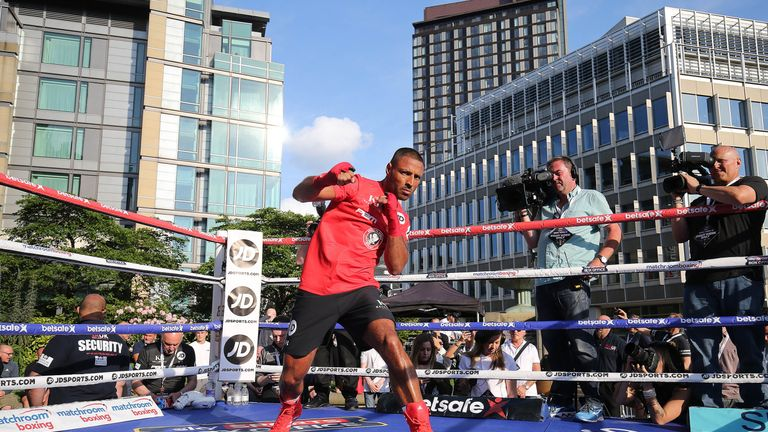 Kell Brook during a public workout at the Peace Gardens on May 24, 2017 in Sheffield, England. Brook fights American Errol Spence Jr