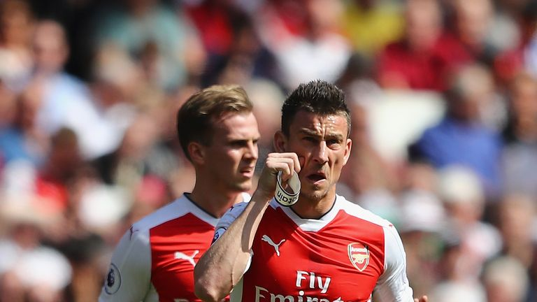 Laurent Koscielny is dismissed against Everton