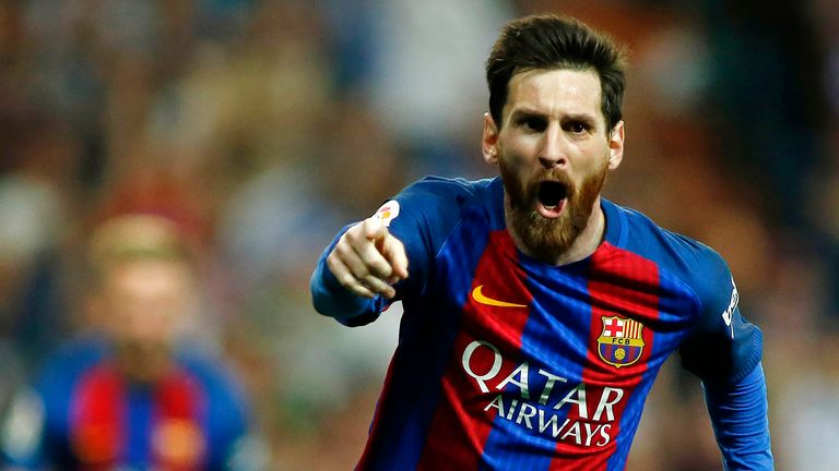 Lionel Messi celebrates after scoring the winning goal against Real Madrid at the Santiago Bernabeu stadium