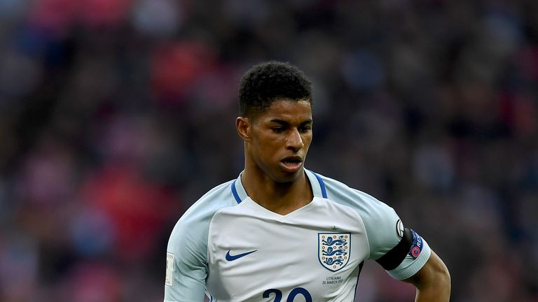 Marcus Rashford of England in action during the World Cup Qualifier against Lithuania