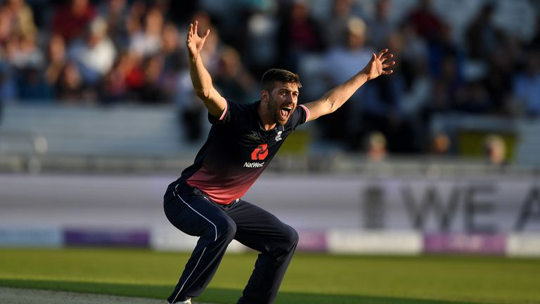 Mark wood of England successfully appeals for the wicket of Hashim Amla of South Africa during the 1st Royal London ODI match