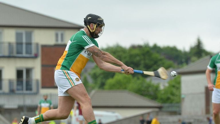 Shane Dooley of Offaly scores his side's first goal from a penalty