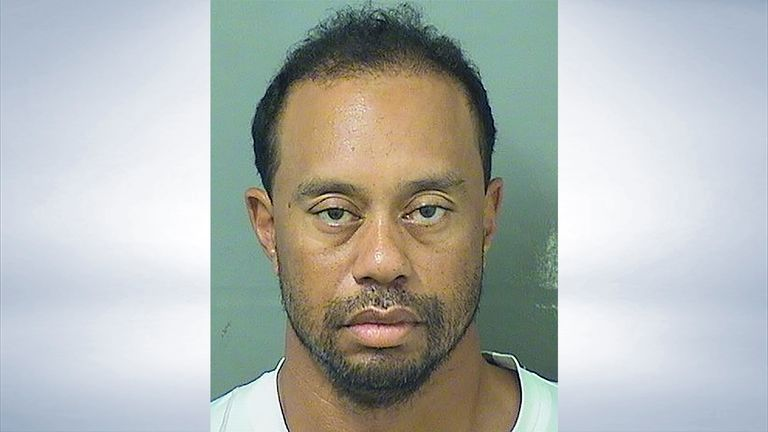 Tiger Woods' mugshot taken after his arrest in the early hours of Monday morning (credit: Palm Beach County Sheriff's Office)