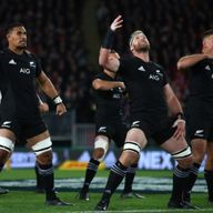 Jerome Kaino of the All Blacks performs the Haka prior to kick-off