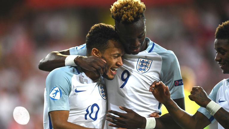 Baker celebrates with Tammy Abraham after scoring against Poland in the European U21 Championships