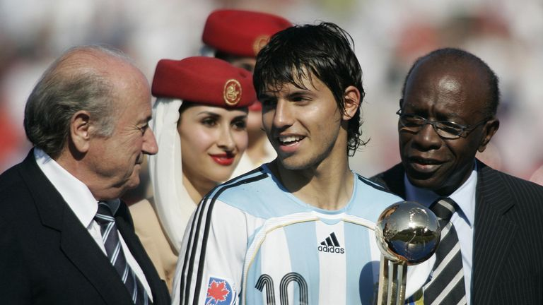 Sergio Aguero is present with the Golden Ball after the 2005 U20 tournament