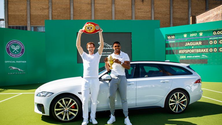 British sporting greats Andy Murray and Anthony Joshua met up on Wednesday
