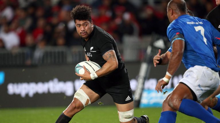 New Zealand's Ardie Savea runs the ball forward  against Samoa