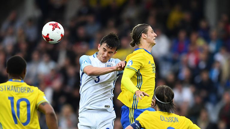 Pawel Cibicki in action for Sweden against England