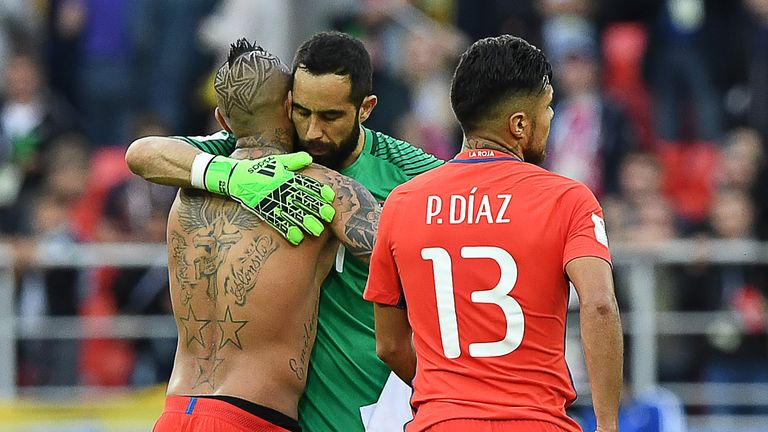 Claudio Bravo (centre) was Chile's hero in their semi-final win over Portugal