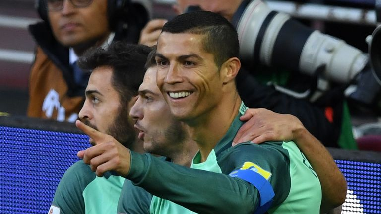 Ronaldo celebrates after scoring at the Confederations Cup