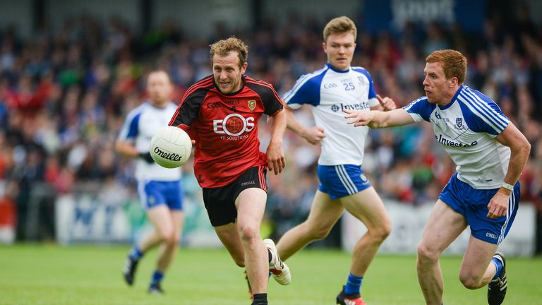 Darren O'Hagan of Down in action against Monaghan's Fintan Kelly