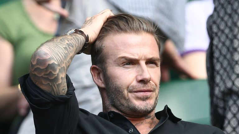 David Beckham was called out to try the new 'white wall challenge' by Marcelo