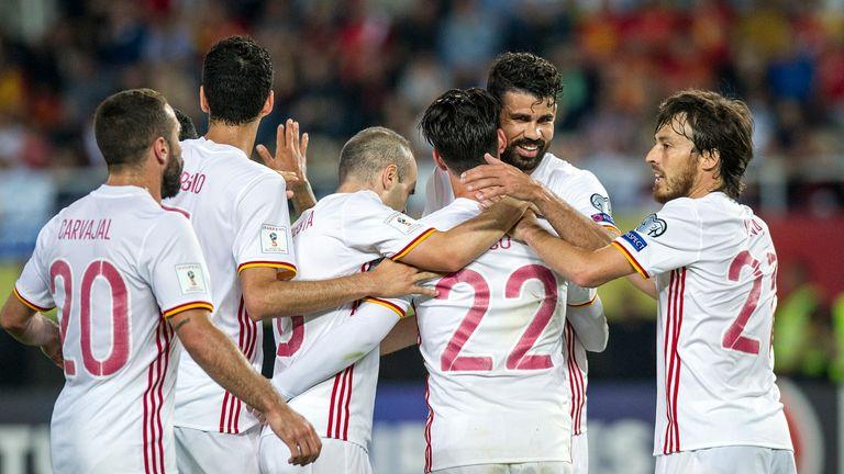 Diego Costa and David Silva celebrate