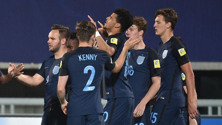 Dominic Solanke celebrates his goal (centre) with team-mates