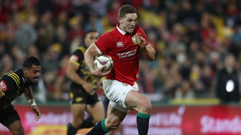George North runs in for his try against the Hurricanes