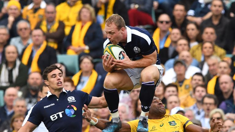 Greig Tonks catches a high ball under pressure during Scotland's win in Sydney