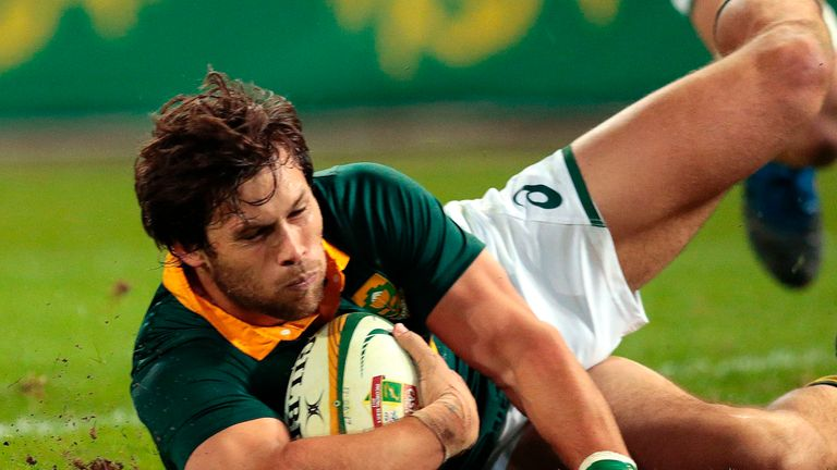 Jan Serfontein scored one of four South African tries in the victory