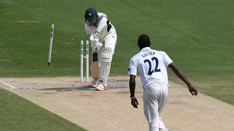Jofra Archer cleans up another batsman in Division Two