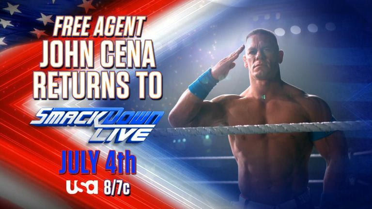 John Cena is being touted as a 'free agent' ahead of his return to WWE on July 4