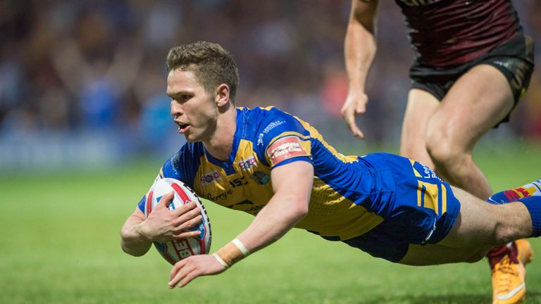 Leeds's Matt Parcell diving over to score a try against Warrington