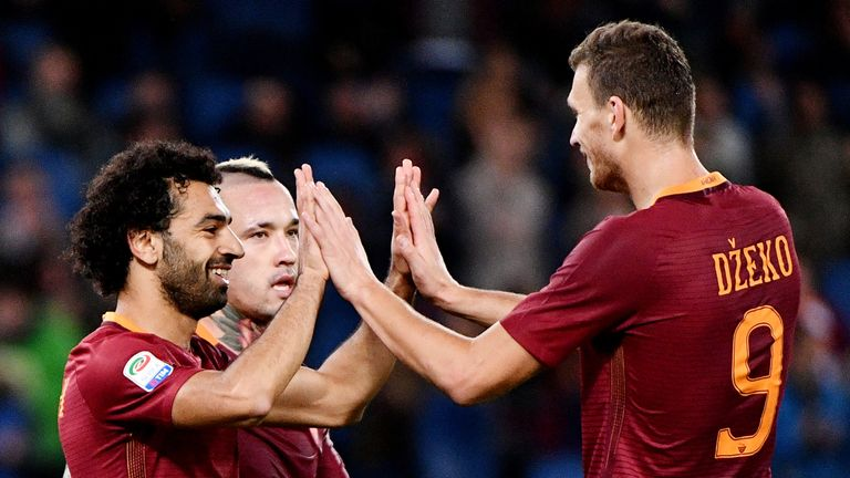 Mohamed Salah struck up a formidable partnership with Edin Dzeko at Roma